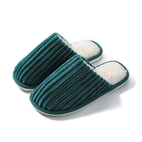 N/W Zapatillas de Suela Dura, Zapatillas de Pareja de otoño e Invierno para Hombres y Mujeres, Zapatillas de algodón cálido Antideslizantes-Verde Oscuro_44 / 45
