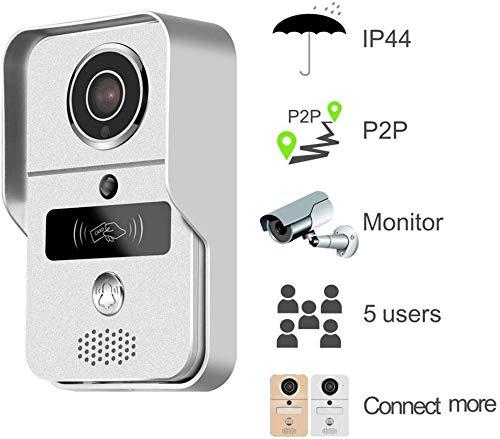 dxx 720P Smart Home Wifi Video campanello, 2.4G Wireless Videotelefono con Rftd Card, Wireless Unlock, Motion Detection Wireless campanello del citofono