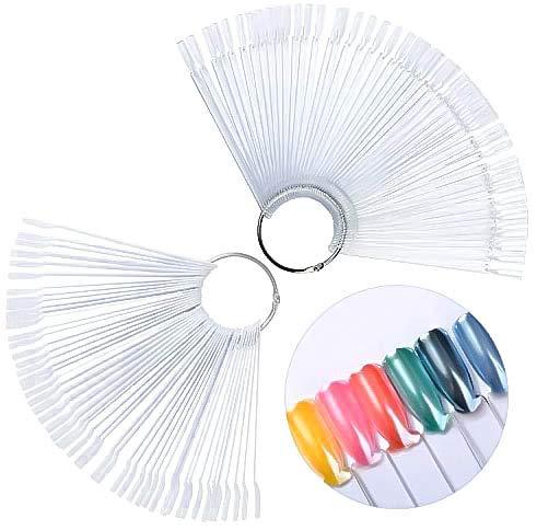 100 Stücke Falsche Nagel-kunst-spitzen Sticks Nagel Display Nail Art Tips,Nail art Praxis Vorlagen,praktischem Metall Ring zum öffnen,Nagellack Farbe (Transparent)