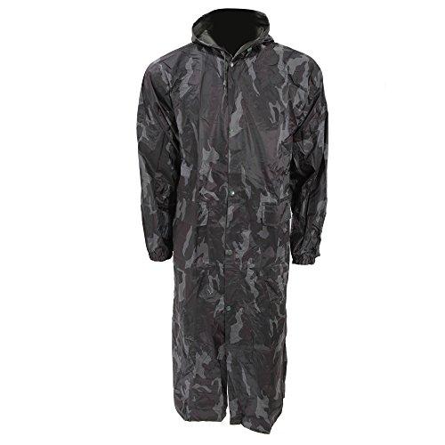 Textiles Universels Manteau Long imperméable à Capuche - Homme (M - Poitrine 109/117cm) (Camouflage)