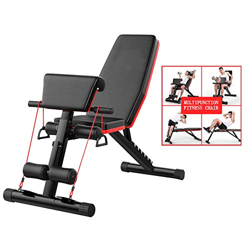 Fitness Chair Dumbbell Bench Sit-ups Fitness Equipment Home Multi-Function Bench Press Board Abdomen Musle Crunch Traning Exercise Bench,BlackRed