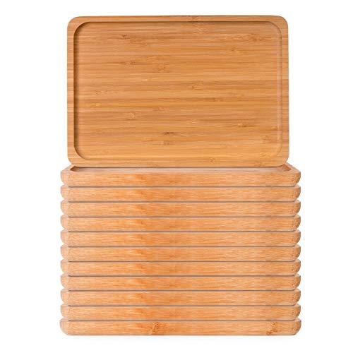 THE CHEF COLLECTION – Set de 12 Uds. Plato Rectangular Nature 21, Colección Nature, Plato Rectangular de bambú Natural, 26,0x18,0x1,7 cm