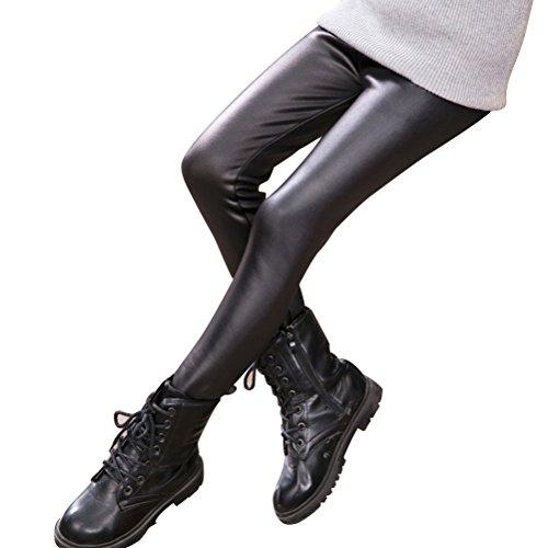 Bestyard lederen broek slim panty van kunstleer leggings meisjes kinderen