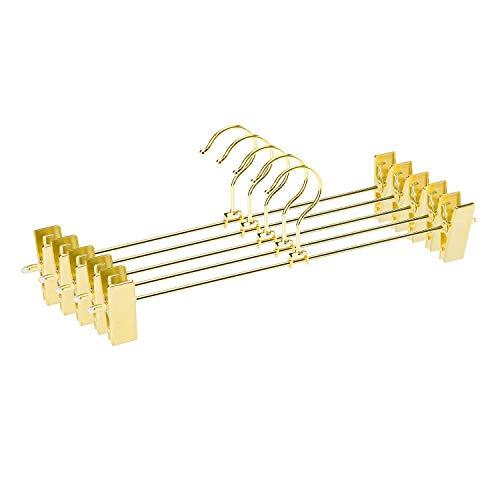 Jetdio Kleiderbügel für Hosen, Rock, Kleiderbügel mit Zwei verstellbaren rutschfesten Clips, drehbarer Haken, goldfarben, 12 Stück