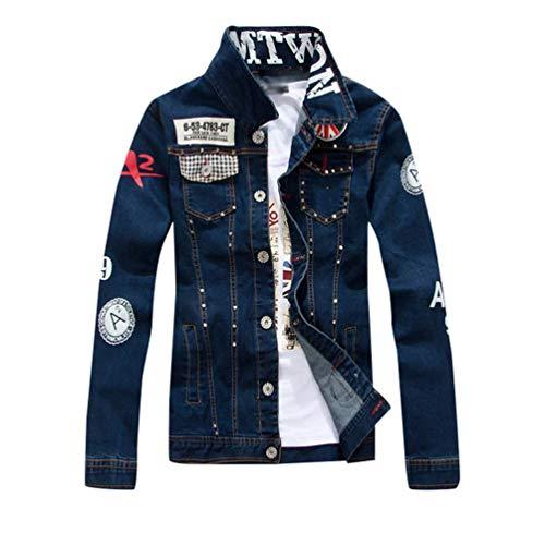HX fashion Heren Spijkerjack Slim Jacket Leisure Comfortabele Maten Retro Destroyed Look Spijkerjas Herenmode (Color : Blau, One Size : XL)
