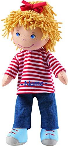 Kinderhaus Blaubär Haba Puppe Weichkörper individuell Bestickt mit Name, Kleine Puppe mit Stoffkörper ca. 30 cm, Babypuppe ab 1 Jahr für Jungs und Mädchen, Haba Conni Puppe und andere