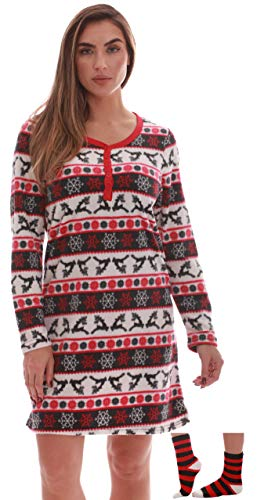 Just Love Henley Night Shirt with Socks for Women 6731-10303-XL