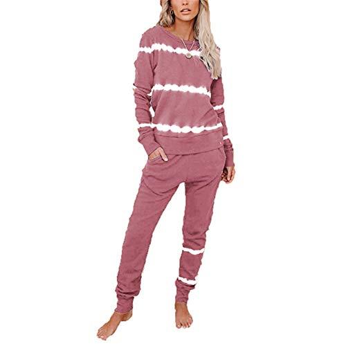 ZFQQ Otoño e Invierno Pantalones de Manga Larga para Mujer par de Pijamas de Color Degradado de teñido Anudado a Rayas Servicio a Domicilio