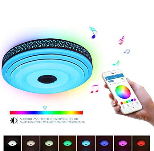 Muziek-plafondlamp met bluetooth-luidspreker, Ø45 cm, draadloos, wifi-led, plafondlamp met meervoudige kleurwisseling via smartphone-app-besturing voor kinderkamer