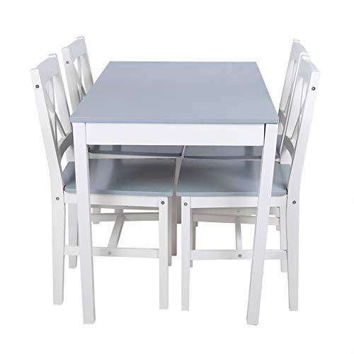 Cikonielf - Mesa de comedor con 4 sillas de madera natural, juego para salón, cocina, terraza, mesa de comer, 108 x 65 x 73 cm, 45 x 41 x 85,5 cm, color gris azul
