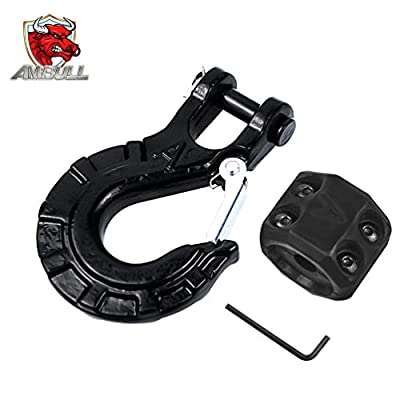 """AMBULL Heavy Duty Forged Steel 3/8"""" Grade 70 Safety Latch Winch Cable Hook Stopper & Clevis Slip Hook Sets, Included Allen Wrench,Max 35,000 lbs, Black"""
