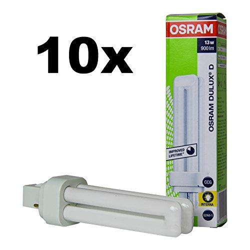 10x Osram DULUX D 13W/840 G24d1 2PIN Energiesparlampe 4000K (Kalt Weiß)