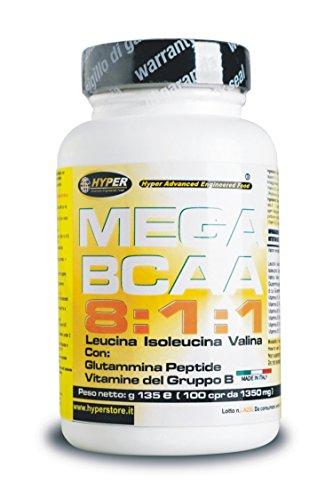 Bcaa 8 1 1 100 Compresse 105 Gr Aminoacidi Ramificati Potenziati con Glutammina Peptide e Vitamine del Gruppo B 8 Leucina 1 Isoleucina 1 Valina Aumento Massa Muscolare Favorisce il Recupero