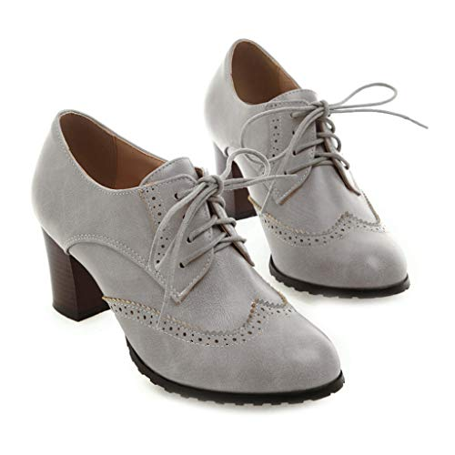 MIOKE Women's Lace Up Wingtip Pump Oxfords Brogues Perforated Chunky Block High Heel Vintage Dress Shoes Gray Grey