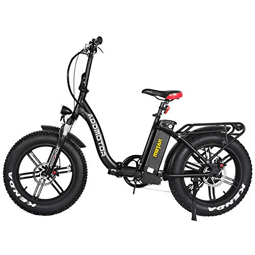 Addmotor 20' Fat Tire Electric Bike for Adults, 750W Folding E-Bike Snow Beach Mountain Moped City Bicycle, 22MPH Motan M-140 R7 Ebike with Removable 48V 16Ah Battery (Matte Black/Red)