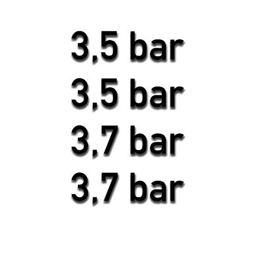 Reifen Druck Aufkleber BAR Luftdruck 3,5 3,7 Bundeswehr Auto 4X 3,5x1cm #A5311