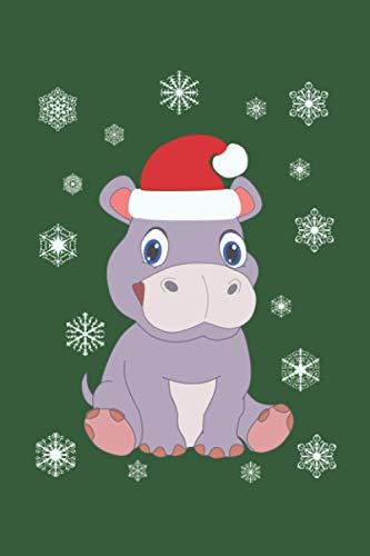 """Weihnachten mit Santa Baby-Hippo: Personalisiertes Notizbuch (6"""" x 9"""" ~ DinA5) 120 linierte Seiten Tagebuch / Poesiealbum mit niedlichem Weihnachtsmotiv"""