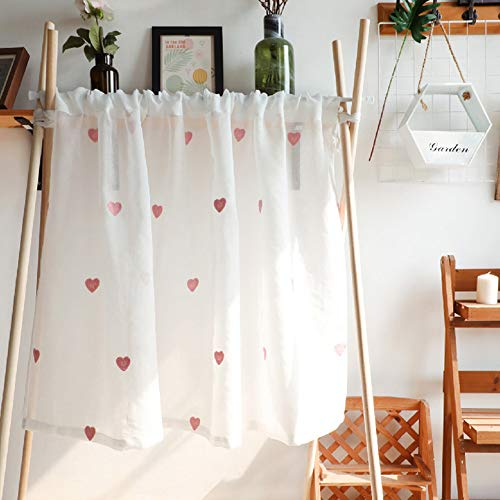 WLHQ Scheibengardine Voile Kurzstore Stickerei Vorhang, Bistrogardine de Moderne, Küchengardine Für küche, Kurzgardine für Wohnzimmer