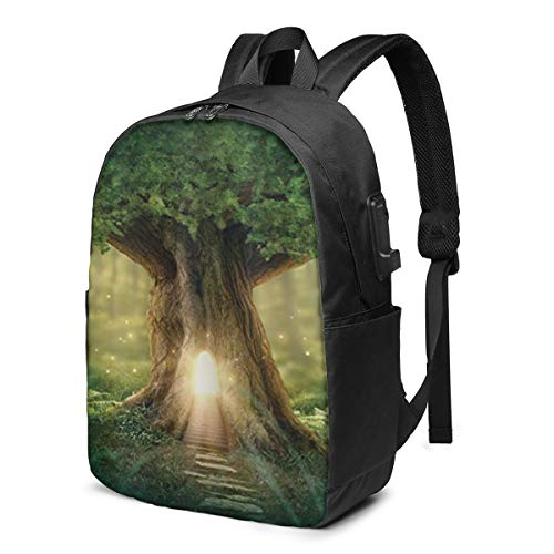 Tree of Life Laptop Backpack,17 Inch Stylish College School Backpack with USB Charging Port, Casual Daypack Laptop Backpack for Unisex/Business/Travel