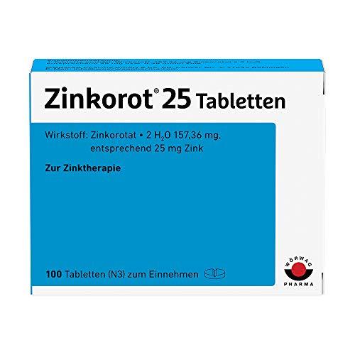 Zinkorot 25 Tabletten: Hochdosierte Zink Tabletten mit 25mg Zinkorotat pro Tablette, nur 1x täglich, 100 Stück