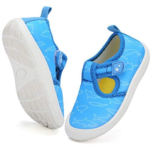 DimaiGlobal Chaussures d eau Enfants Garçons Filles Bébés à séchage Rapide Anti-dérapant Pieds Nus Chaussures Plage Piscine Surf Sport Chaussures de Bain 23EU Bleu Clair