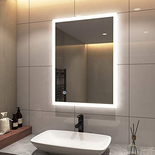 EMKE 24 x 32 Inch LED Bathroom Vanity Mirror Anti-Fog Bathroom Mirror with Lights for Wall, Dimmable, Brightness Memory, UL Listed and Support Wall Switch (Horizontal/Vertical)