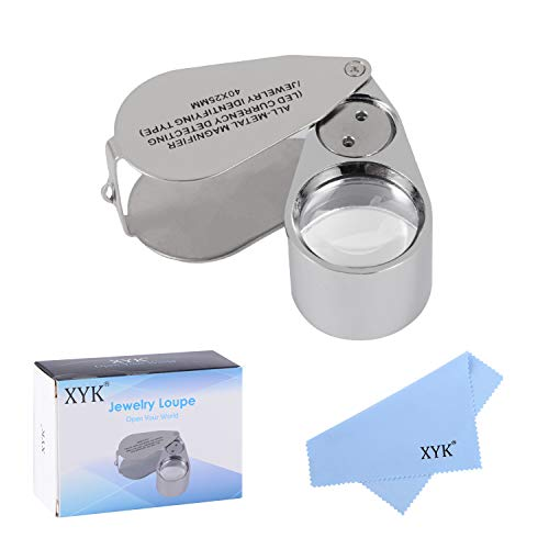 Metall-Leuchtschmucklupe, XYK zusammenklappbares wissenschaftliches Dokumenten-Vergrößerungsglas, Juwelierslinse, Augenlupe 40X metal silber