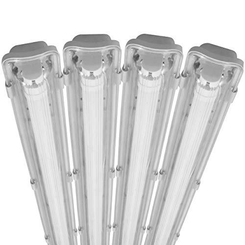proventa® LED-Feuchtraumleuchte 120 cm, Sparset mit 4 Stück, mit LED-Röhre, IP65, 4.000 K, 18 W, 1.800 Lumen, Kunststoff grau, Energieklasse A+