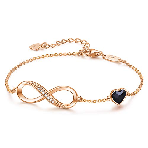 LOUISA SECRET Infinity Heart Symbol Charm Bracelets Jewellery for Womens 925 Sterling Silver Adjustable Anniversary Birthday Gifts for Her Wife Girls Mum