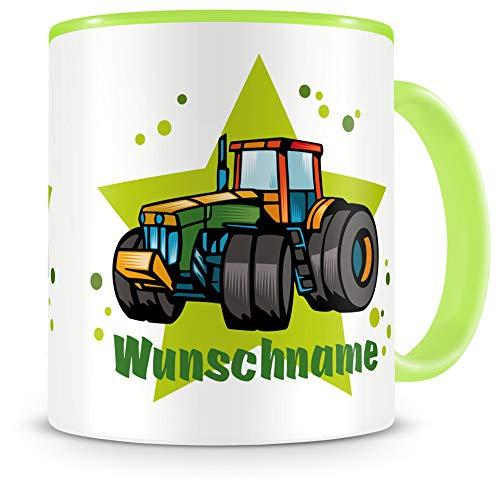 Samunshi® Kindertasse mit Namen Tasse Traktor Personalisierte Tasse mit Namen Kinder Kinderbecher mit Namen Kindergarten grün 300ml