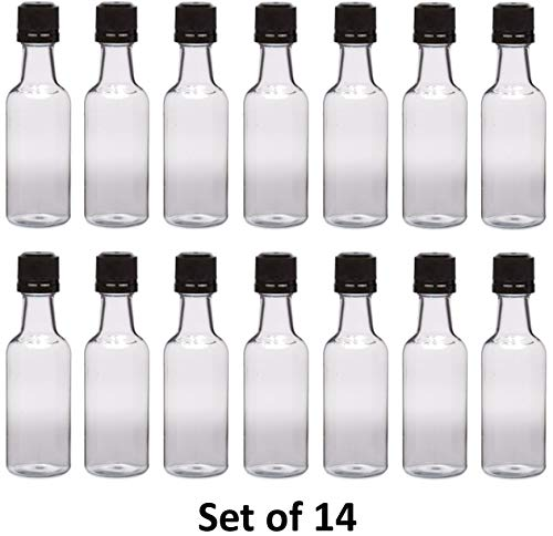 50 ml (1.7 Oz.) Premium Quality Round PET clear small plastic bottle with temper evident caps, Food Grade Made In USA (Black Caps -14 Bottles)