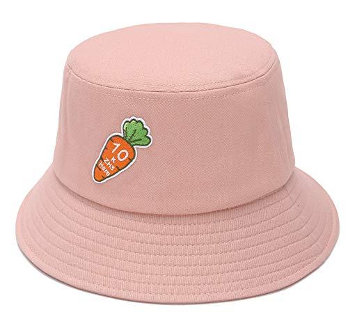 GEMVIE Sombrero Verano de Sol para Mujer Reversible Unisex Plegable Pescador Gorro Bordado de Zanahoria Bucket Hat (Rosa)