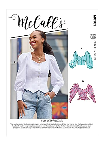 McCall's M8181F5 Misses Prairie Puff Sleeve Peasant Top Sewing Patterns Kit, Design Code M8181, Sizes 16-24