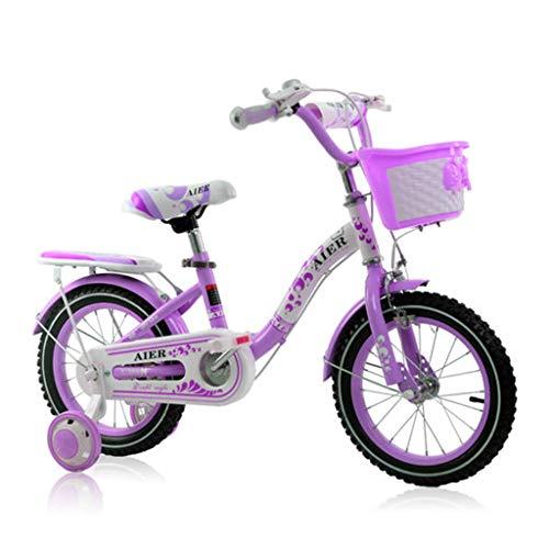 BaoKangShop Bicicletas Bicicleta para niños de 2 a 10 años. Bicicleta Princesa de 12 14 16 Pulgadas con Pedal para niña. Libre Ciclismo (Color : Purple, Size : 14 Inches)