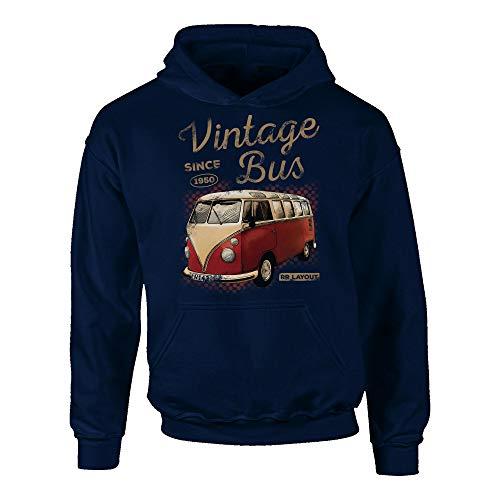 shirtdepartment - Kinder Hoodie - Vintage Bus dunkelblau-Hellbraun 134-146
