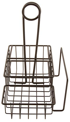 G.E.T. Enterprises Black Metal Three Compartment Condiment Caddy with Menu Iron Powder Coated Table Caddies Collection 4-31698 (Pack of 1)