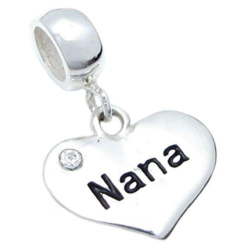 Queenberry Sterling Silver Nana Heart Love Cubic Zirconia Crystal Dangle Bead for European Charm Bracelets