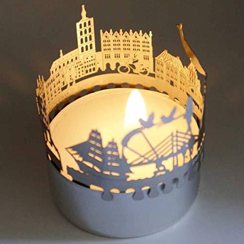 13gramm Stralsund-Skyline Windlicht Schattenspiel Souvenir, 3D Edelstahl Aufsatz für Kerze inkl. Karte
