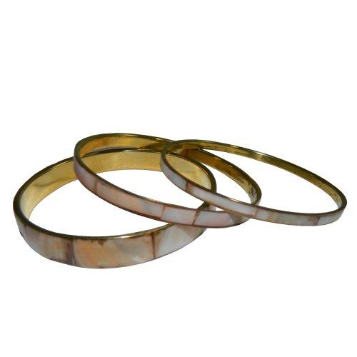 indischerbasar.de - Lot de 3 Bracelets de nacre saumon clair Bijoux Fantaisie Accessoires de Mode Inde