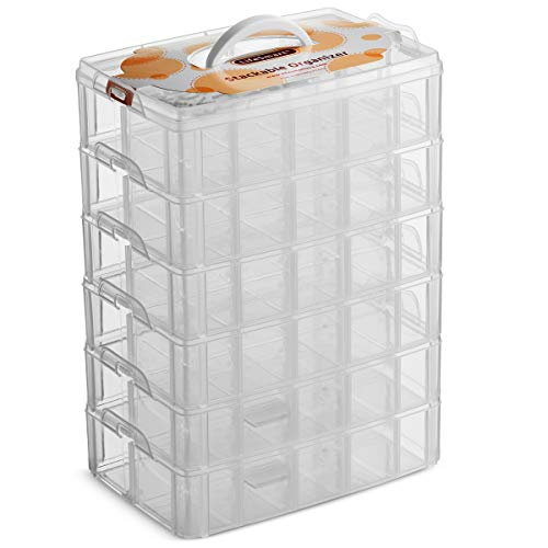 LifeSmart USA Stackable Storage Container Clear 60 Adjustable Compartments Compatible with Lego Dimensions Arts and Crafts Piping Tips Hardware Storage Not Suitable for Ornaments (Standard 6 Tier)
