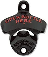 """Black Open Bottle Here STARR """"X"""" Wall Mounted Bottle Opener"""