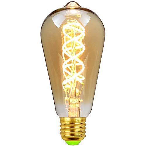 ST64 Edison lampadina a goccia vintage doppia spirale curvo filamento LED ambra 4 W, dimmerabile, 220/240 V E27 Lampadina vintage