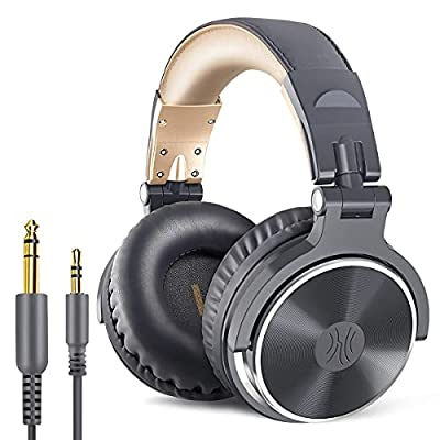 OneOdio Over Ear Headphones Closed Back Studio DJ Headphones for Monitoring Mixing Recording and Keyboard Guitar amp, Adapter Free, Newest 50mm Neodymium Drivers, Foldable Headphones Wired by Pro-002-GY-EU