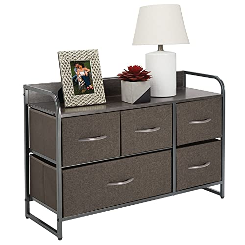 mDesign Wide Dresser Storage Chest, Sturdy Steel Frame, Wood Top & Handles, Easy Pull Fabric Bins - Organizer Unit for Bedroom, Hallway, Closet - Textured Print, 5 Drawers - Charcoal/Graphite Gray