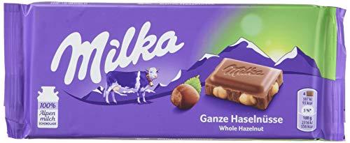 Milka Ganze Haselnüsse - Zartschmelzende Schokoladentafel mit ganzen Haselnüssen - Großpackung - 5 x 100g