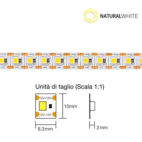 Tecno & Led - Strip Led 120W - Led Taglio Singolo 24W/mt 24V 10mm 600 SMD 2835 [Classe efficienza A+] (Bianco naturale 4000K)