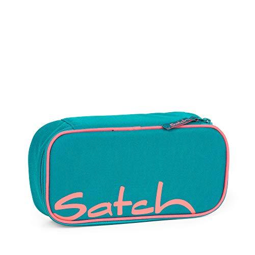 Satch Schlamperbox Ready Steady, Mäppchen mit extra viel Platz, Trennfach, Geodreieck, Türkis