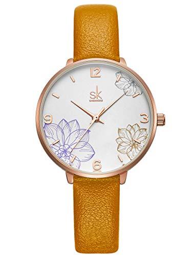 Alienwork Damen-Armbanduhr Quarz Rose-Gold mit Lederarmband gelb Weiss elegant