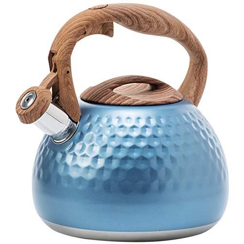 Primlisa Hervidor de agua con silbato de inducción, de acero inoxidable, hervidor de agua de 3 L, con mango de madera, de calidad alimentaria, teteras con flauta para todas las placas de cocina