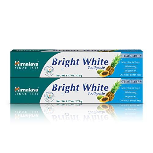 Himalaya Bright White Toothpaste, Fluoride Free to Reduce Plaque & Whiten Teeth, 6.17 oz, 2 Pack